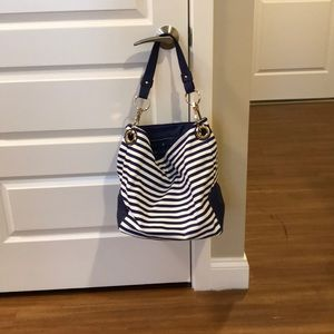 Navy and white striped purse